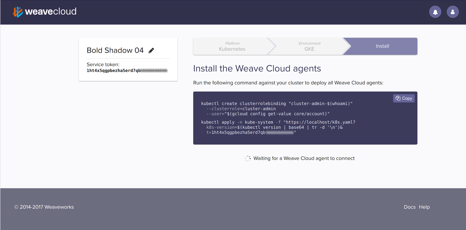 Install Weave Cloud agent